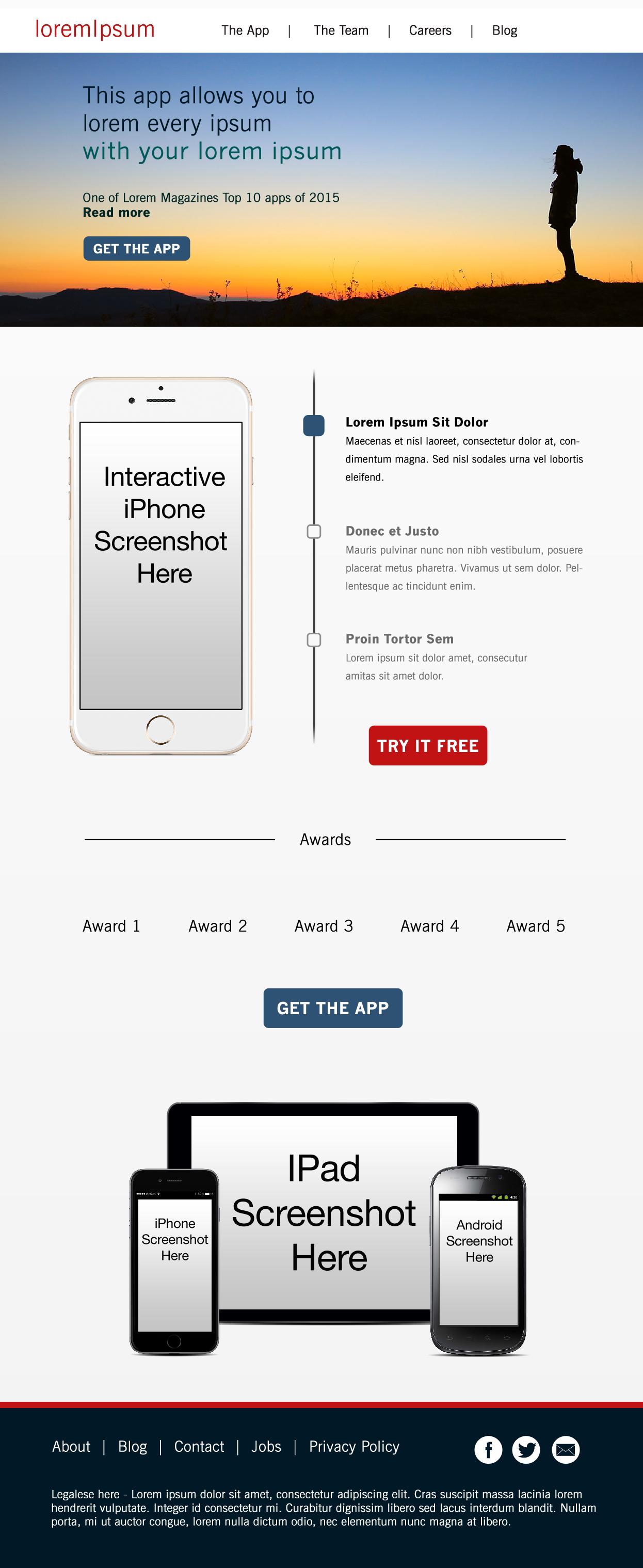 Desktop Landing Page for a Mobile App by Jonathan Maas - Top Photo Courtesy of Lee Scott via Unsplash.com