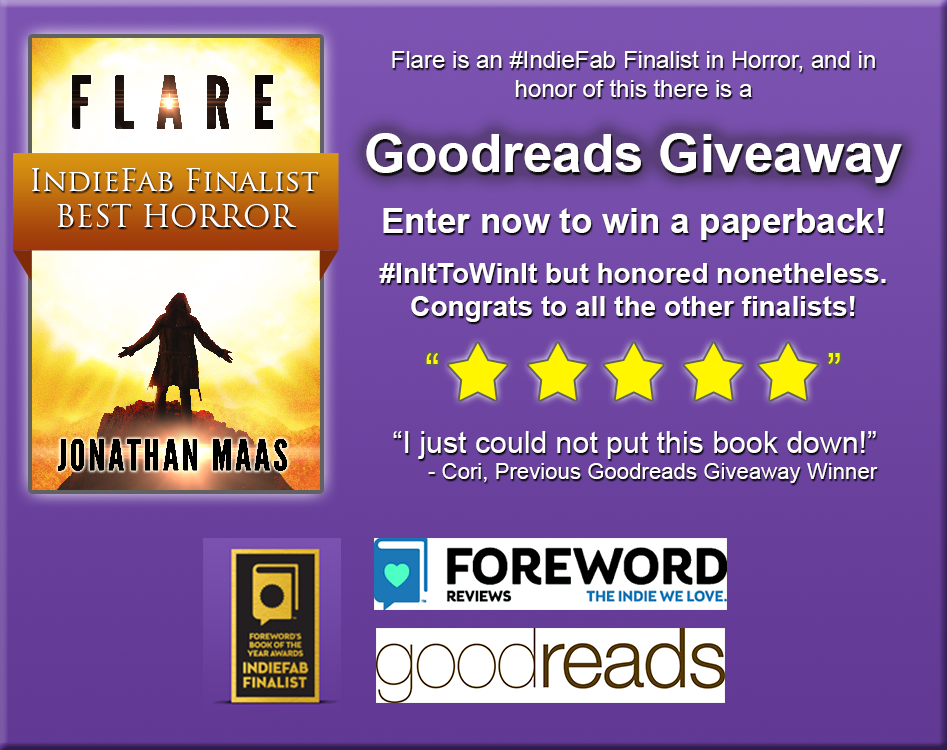 Promo pic for flare goodreads indiefab giveaway