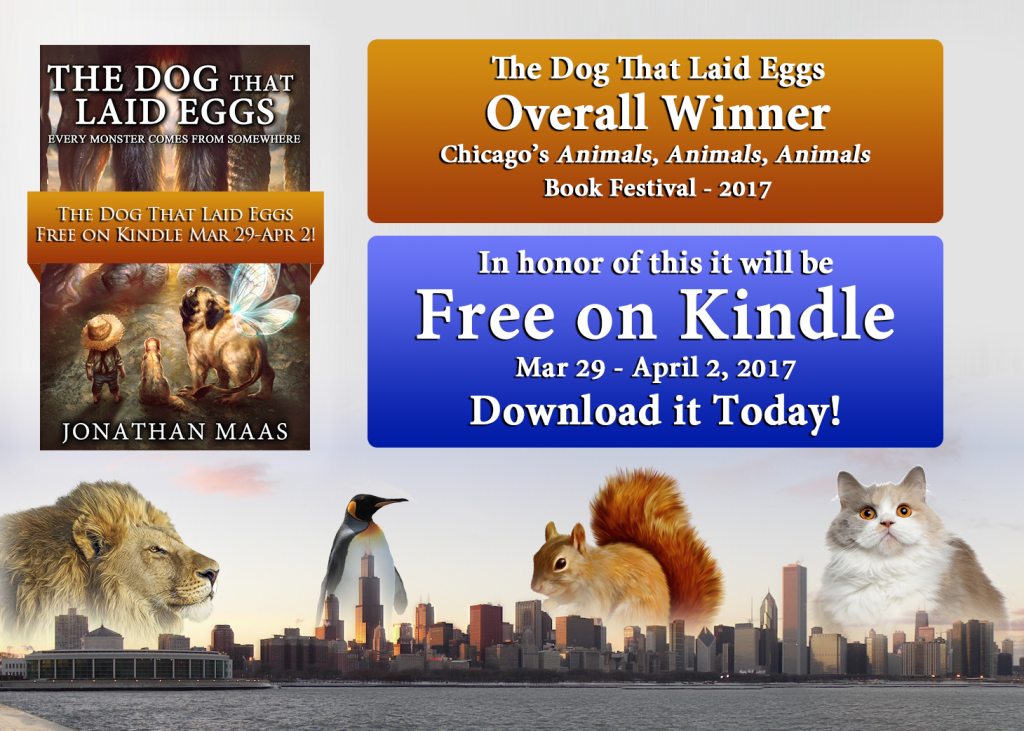 Promo pic for 'The Dog That Laid Eggs' - Winner 'Animals, Animals, Animals' festival - free on Kindle Mar 29 - Apr 2, 2017